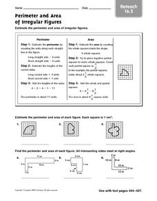 Perimeter and Area of Irregular Figures reteach 16.5 Worksheet