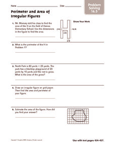 Perimeter and Area of Irregular Figures: Problem Solving Worksheet