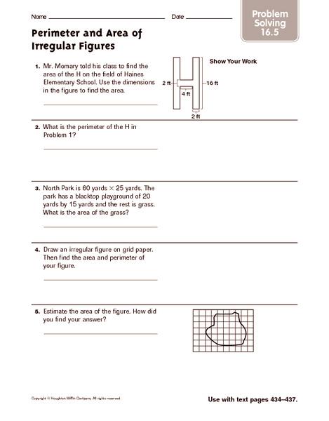 Perimeter And Area Of Irregular Figures Problem Solving