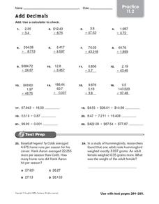Add Decimals: Practice Worksheet