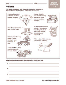 Volume - ELL Worksheet