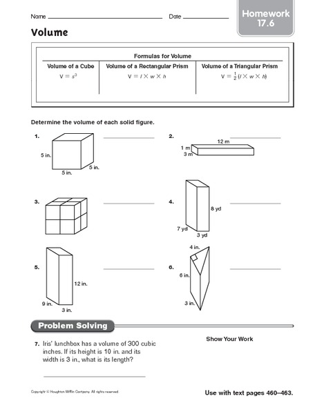 volume  homework worksheet for 5th