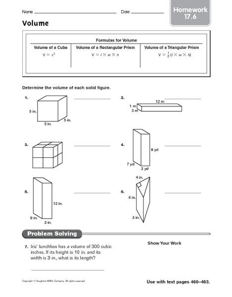 volume  homework worksheet for 5th