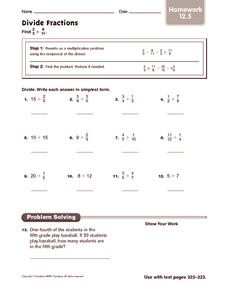 Divide Fractions: Homework Worksheet