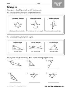Triangles: Reteach Worksheet
