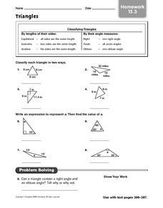 Triangles: Homework Worksheet