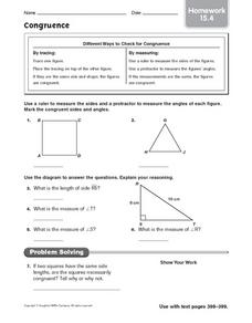 Congruence: Homework Worksheet
