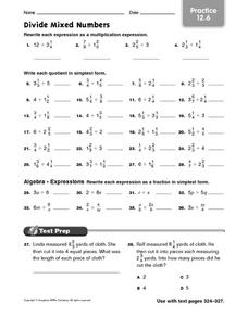 Divide Mixed Numbers practice 12.6 Worksheet