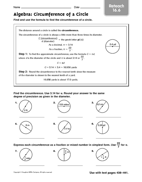 Circumference Of A Circle Reteach Worksheet For 5th 6th