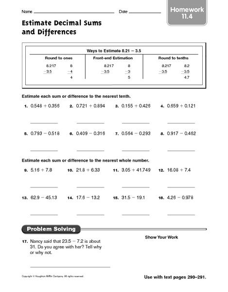math worksheet : estimate decimal sums and differences homework 11 4 4th  5th  : Estimating Sums And Differences Worksheets