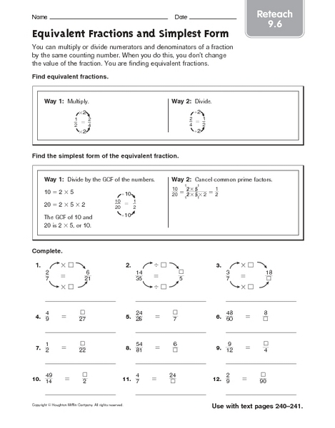 equivalent fractions and simplest form reteach 9 6 worksheet for 4th 6th grade lesson planet. Black Bedroom Furniture Sets. Home Design Ideas