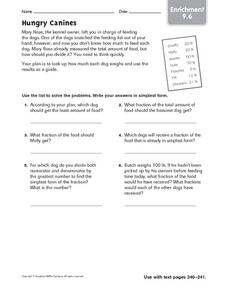 Problem Solving - Hungry Canines Worksheet