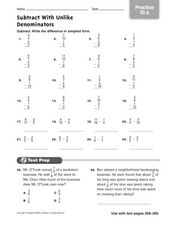 Subtract With Unlike Denominators practice 10.6 Worksheet