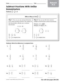 Subtract Factions With Unlike Denominators reteach 10.6 Worksheet