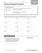 Prime and Composite Numbers: Homework Worksheet
