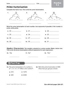 Prime Factorization - Practice 9.2 Worksheet for 3rd - 5th Grade ...