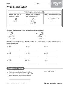 Prime Factorization - Homework 9.2 Worksheet