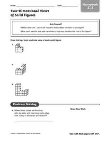Two Dimensional Views of Solid Figures Worksheet