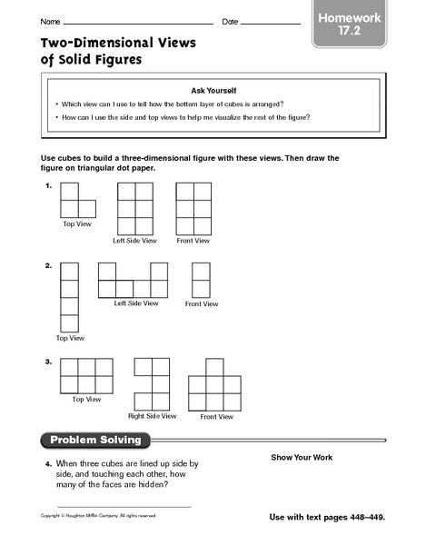 Two-Dimensional Views of Solid Figures homework 17.2 Worksheet