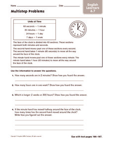 Multistep Problems: ELL Worksheet