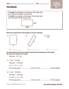 Perimeter: ELL Worksheet