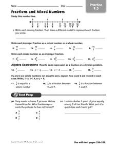 Fractions and Mixed Numbers: Practice Worksheet