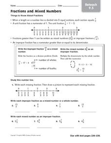 Fractions and Mixed Numbers: Reteach Worksheet