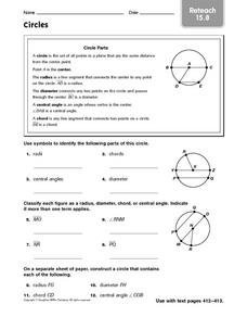 Circles: Reteach Worksheet
