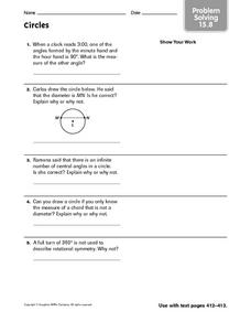 Circles: Problem Solving Worksheet
