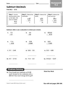 Subtract Decimals: Homework Worksheet