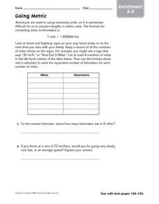 Going Metric enrichment 6.4 Worksheet