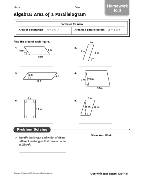 area of a parallelogram worksheet free worksheets library download and print worksheets free. Black Bedroom Furniture Sets. Home Design Ideas