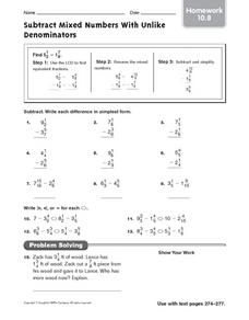 Subtract Mixed Numbers With Unlike Denominators: Homework Worksheet
