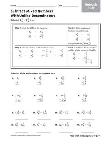 Subtract Mixed Numbers With Unlike Denominators: Reteach Worksheet
