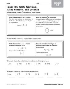 Hands-On: Relate Fractions, Mixed Numbers and Decimals: Reteach Worksheet