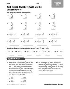 Add Mixed Numbers With Unlike Denominators: Practice Worksheet