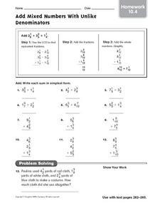 Add Mixed Numbers With Unlike Denominators: Homework Worksheet