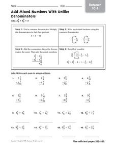 Add Mixed Numbers With Unlike Denominators: Reteach Worksheet