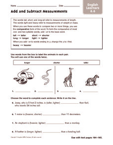 Add and Subtract Measurements: ELL Worksheet