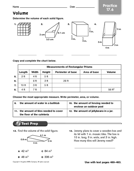 Volume Practice 17 6 Worksheet For 6th 8th Grade