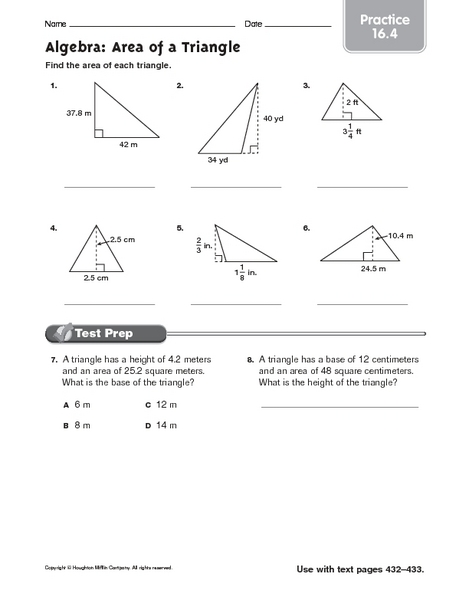 algebra area of a triangle practice worksheet for 7th grade lesson planet. Black Bedroom Furniture Sets. Home Design Ideas