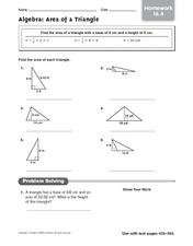 Algebra: Area of a Triangle - Homework 16.4 Worksheet