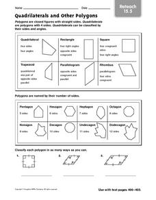 Quadrilaterals And Other Polygons Reteach Worksheet For 5th 6th