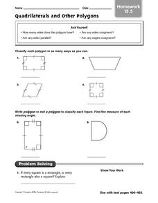 Quadrilaterals and Other Polygons: Homework Worksheet