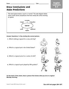 Draw Conclusions and Make Predictions: English Learners Worksheet