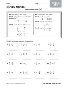 Multiply Fractions - Reteach 12.2 Worksheet