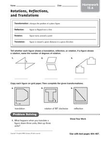Rotations, Reflections, and Translations: Homework Worksheet