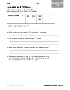 Numbers and Patterns: Enrichment Worksheet