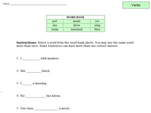 Verb Practice 4 Worksheet