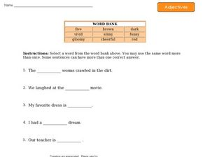 Adjectives 6 Worksheet